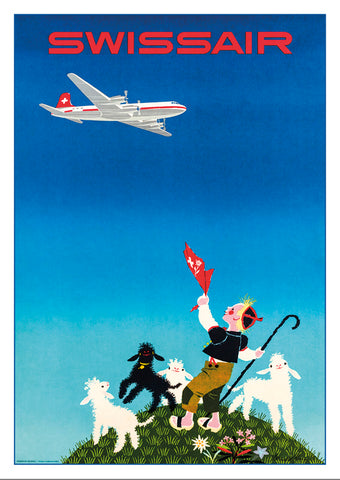 SWISSAIR - Poster by Donald Brun - 1954