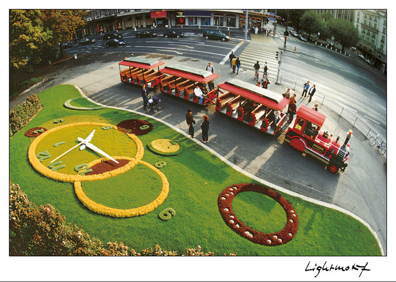 16258 - Geneva - The flower-clock and the electro-solar little train, Switzerland