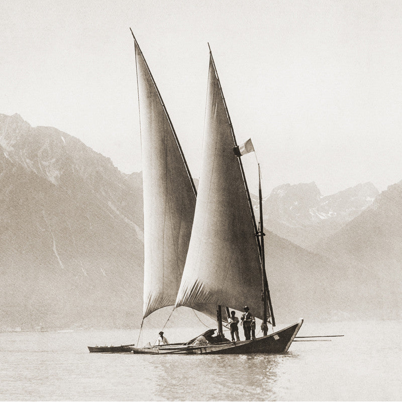 "73027 - Lake Geneva - Boat called ""cochère""  in front of Montreux, about 1885, Switzerland"