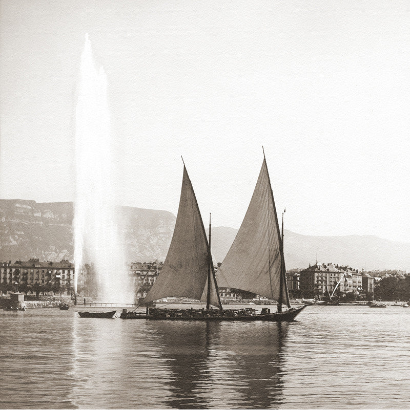 73041 - Geneva - Bark sailing into the harbour, about 1900, Switzerland