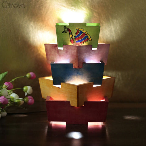 Wooden Colorful Unique Stair Table Lamp with Madhubani Hand Painting