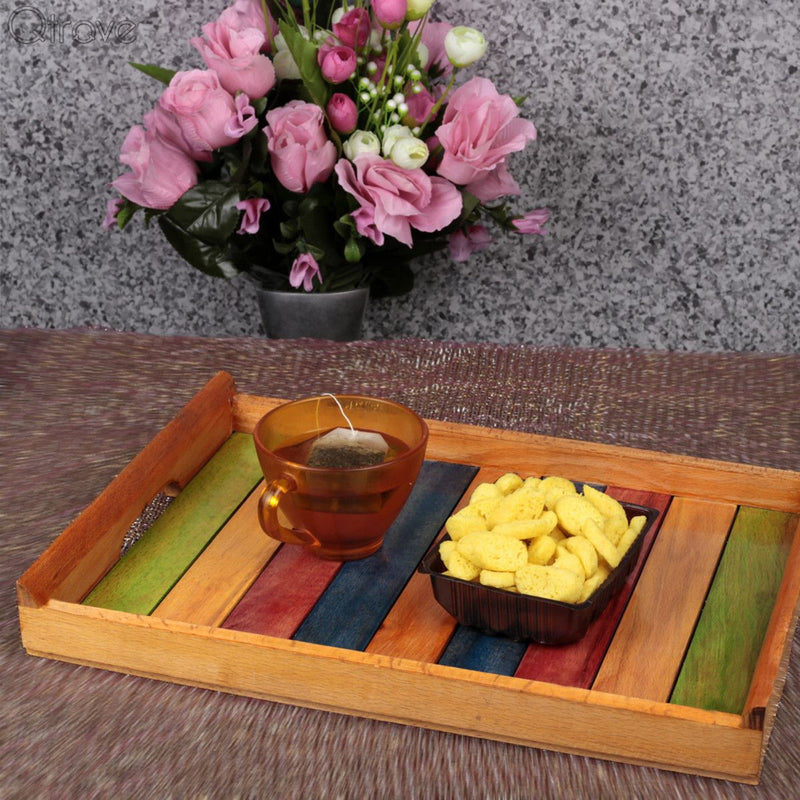 Multicolour Wooden Serving Tray With Sleek Finish
