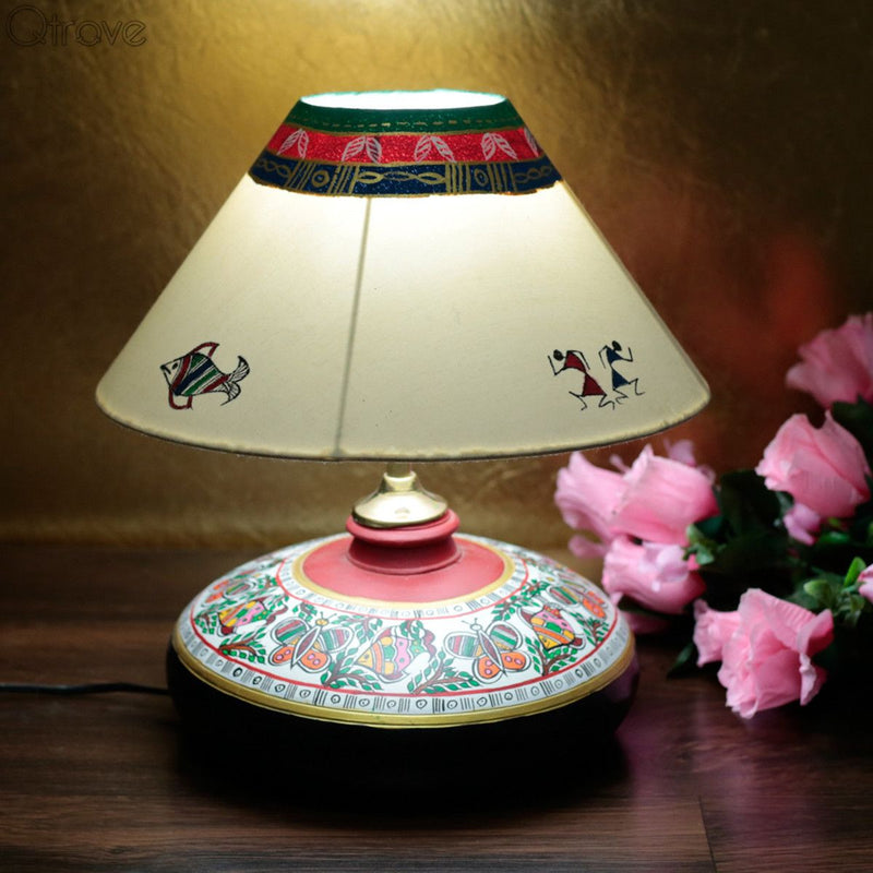 Terracotta Handmade Perfect Round Lamp With Madhubani Hand Painting