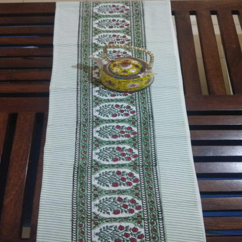 Red & Green 100% Cotton Canvas Table Runner (Hand Block Print), Style 13