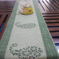 Green Colour Base 100% Cotton Canvas Table Runner (Hand Block Print), Style 16