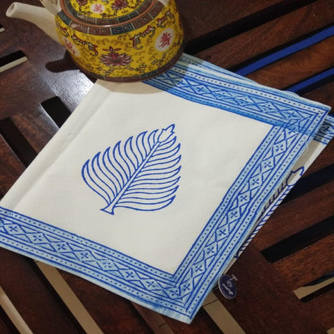 Leaf Design Blue Colour Hand Block Print With Vegetable Colour 100% Cotton Canvas Table Runner