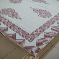 Ethnic Design Red Colour 100% Cotton 6 Seater Table Cover