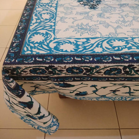 Jaal Print Blue Colour 100% Cotton 6 Seater Table Cover