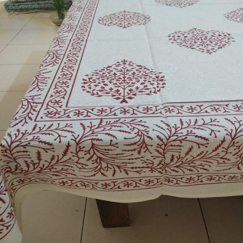 Ethnic Leaf Design Red Colour 100% Cotton 6 Seater Table Cover