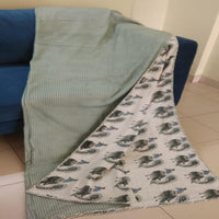 Reversible 100% Cotton Summer Blanket /Quilt/Voile Dohar Peocock Design