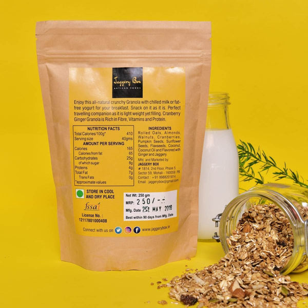 100% Natural Hand Crafted Crunchy Cranberry Ginger Granola (Vegan) at Qtrove