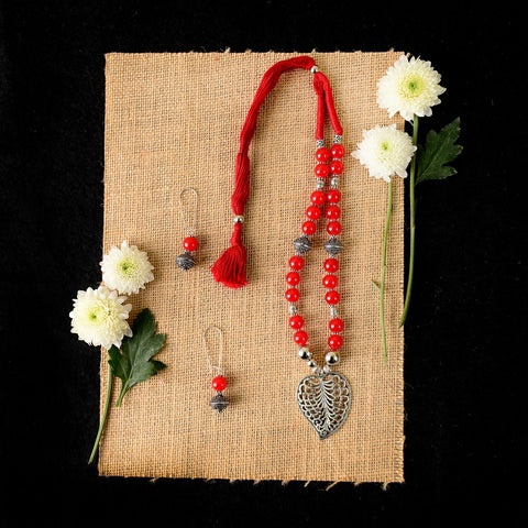 Handmade Red Glass Beaded Necklace Set