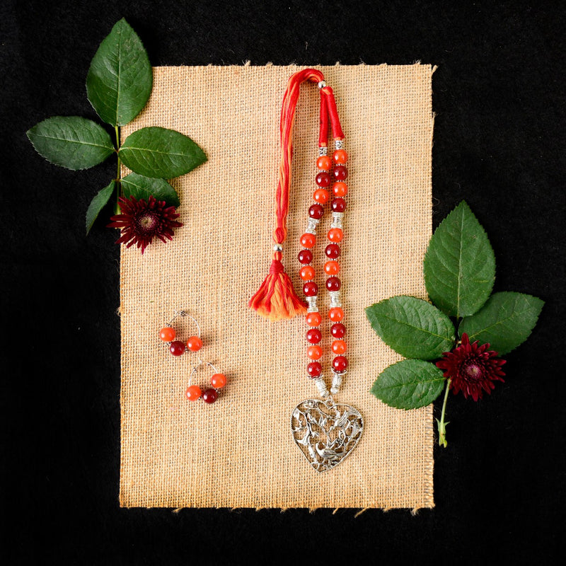 Handmade Maroon And Orange Combo Necklace Set