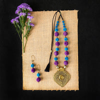 Handmade Blue Purple Combo Necklace Set