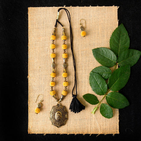 Handmade Turmeric Yellow Colored Velvet Beads Necklace Set
