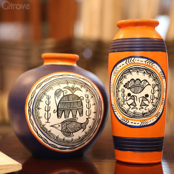Handpainted Combo Of Terracotta Madhubani Vase