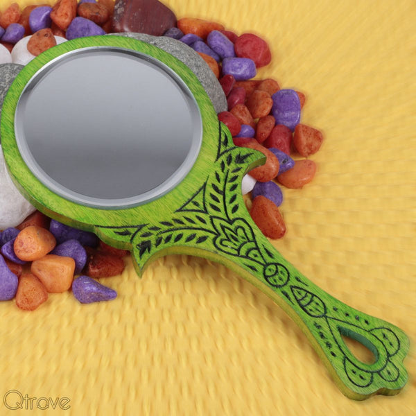 Wooden Small Green Color Royal Look Hand Mirror at Qtrove