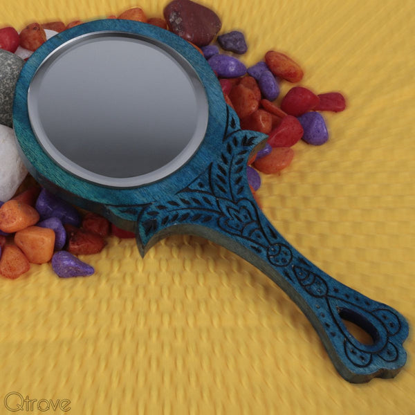 Wooden Small Blue Round Royal Look Hand Mirror at Qtrove