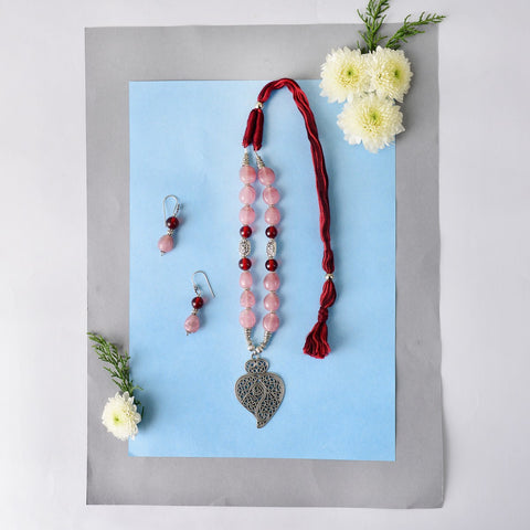 Handmade Pink And Maroon Combo Necklace Set