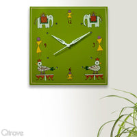 Hand Painted Green Wooden Wall Clock