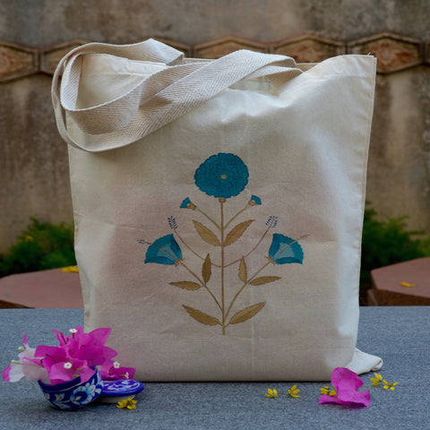 Hand Painted Cotton Tote With Blue Floral Motif
