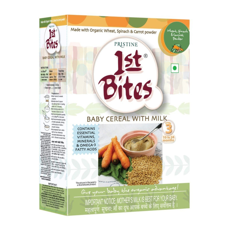 1st Bites - Baby Cereal Wheat, Spinach & Carrot Powder Stage - 3 (10 Months - 24 Months)