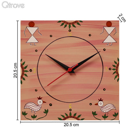 Hand Painted Pink Wooden Wall Clock