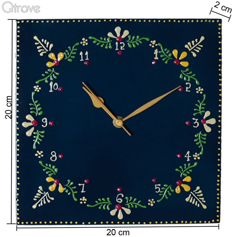 Hand Painted Wooden Embossed Wall Clock
