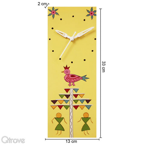 Hand Painted Yellow Wooden Wall Clock