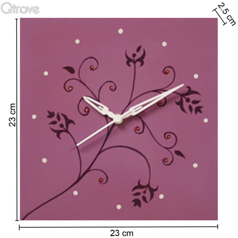 Hand Painted Purple Wooden Wall Clock