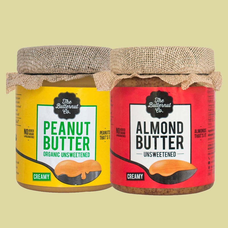 Unsweetened Organic Peanut Butter & Unsweetened Almond Butter Combo Pack (200 gm each)