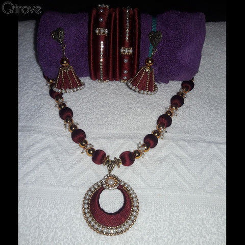 Silk Thread Necklace Earring And Bangle Set (Red & Gold)