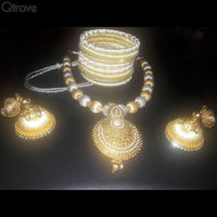 Silk Thread Necklace Earring And Bangle Set (White & Gold)