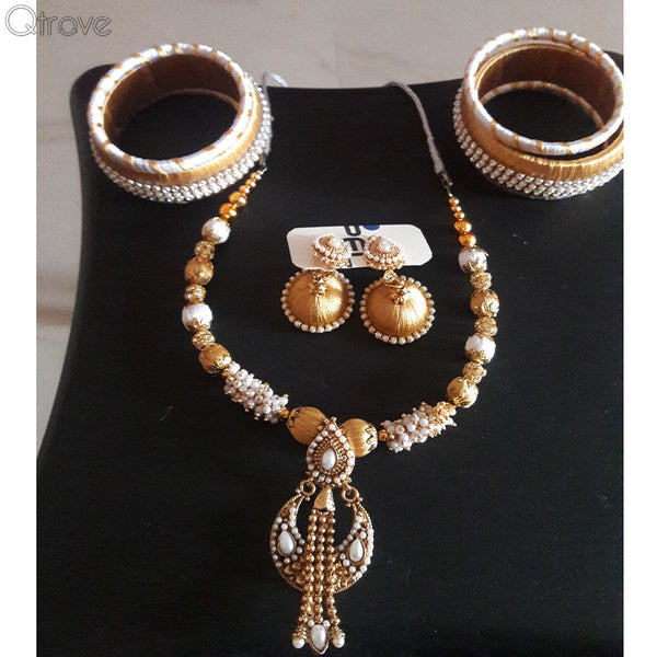 Silk Thread Necklace Earring And Bangle Set (Golden) at Qtrove