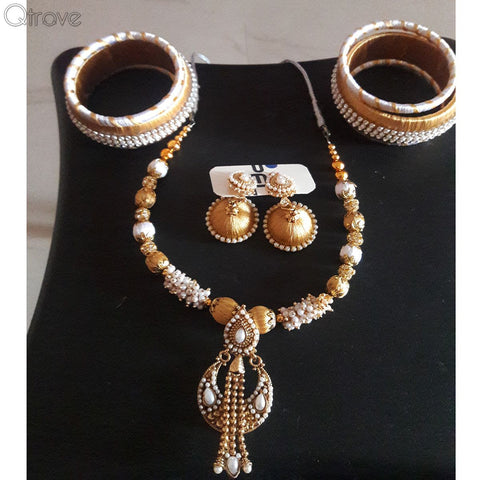 Silk Thread Necklace Earring And Bangle Set (Golden)