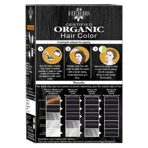 Hair Color - 24 herbs Soft Black With Free Hair Eaze Spa Sachet.