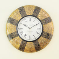 Oxidized Two Shaded Brass Wall Clock