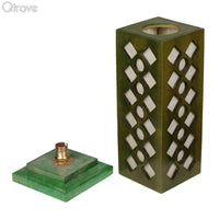 Wooden Green Table Lamp With Classic Jaali Cutting