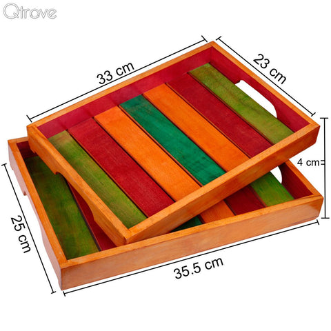 Elegant Multi Coloured Wooden Tray (Set of 2)
