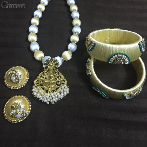 Silk Thread Necklace Earring And Bangle Set with a Pearl Drop