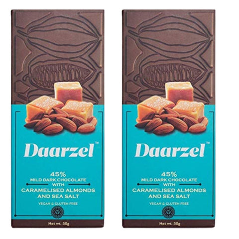 45% Mild Dark Chocolate With Caramelised Almonds (Pack of 2)