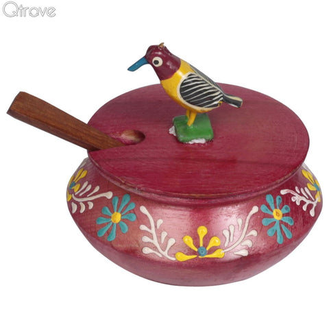 Embossed Hand Painted Wooden Red Parrot Jar Set