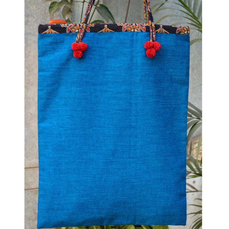 Handmade Cotton Tote Bag in Blue With String Handles