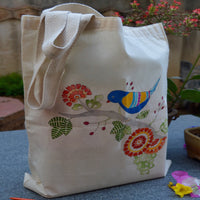 Hand Painted Cotton Tote Bird On A Branch