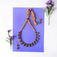 Handmade Honey Coloured Glass Beaded Necklace Set