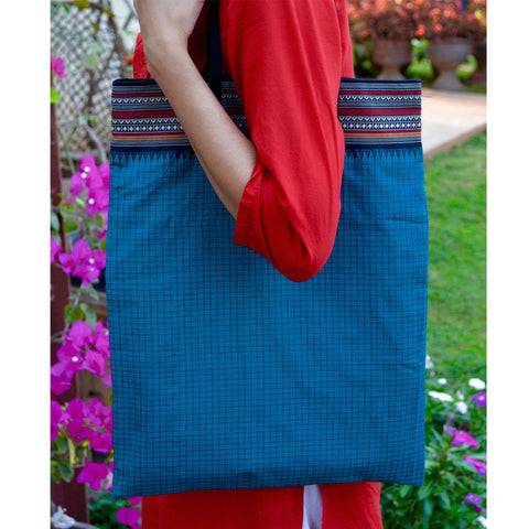 Handmade Cotton Tote Bag in Blue Checks With String Handles