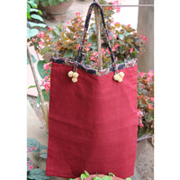 Handmade Cotton Tote Bag in Red With String Handles