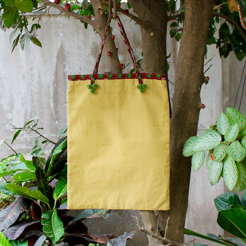 Handmade Cotton Tote Bag in Yellow With String Handles