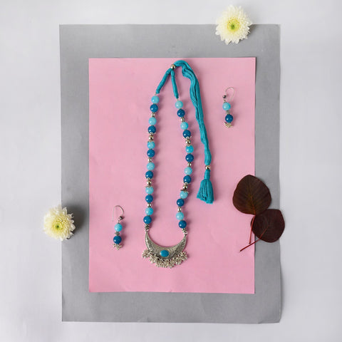 Handmade Turqoise Blue Beaded Necklace Set