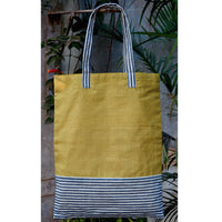 Handmade Cotton Tote Bag (Yellow And White Grey Stripes)